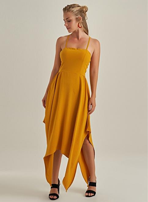 NGSTYLE Asimetrik Etekli Askılı elbise Hardal